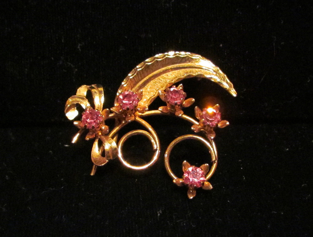 Pink Rhinestone Pin Vintage Brooch Gold Leaf & Flower Design