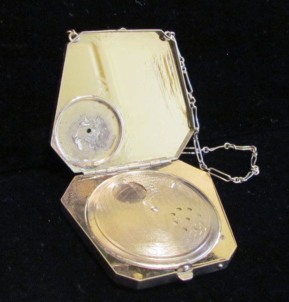 1920s Silver Guilloche Compact Art Deco Powder Mirror Purse