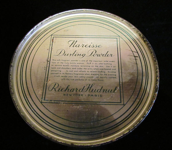 1920s Powder Tin Richard Hudnut Narcisse Metal Dusting Powder Box