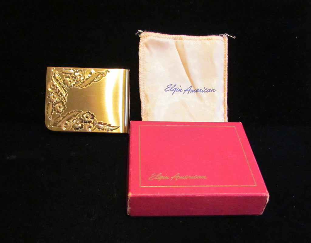 Vintage Elgin Gold Compact 1940s Art Deco Unused In The Original Box