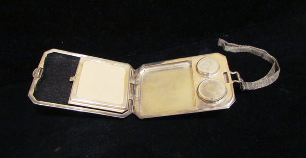 Vintage Silver Plated WHSCO Coin Or Change Purse Powder & Mirror Compact Silver Plated Wristlet Purse