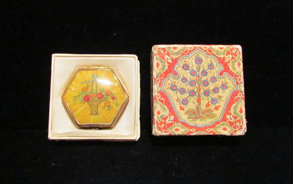 Vintage Houbigant 1930s Compact Hexagon Powder Rouge Mirror Compact Original Box
