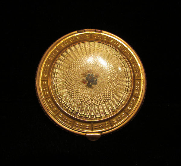 1930 S Powder Compact Vintage Gold Celluloid Guilloche