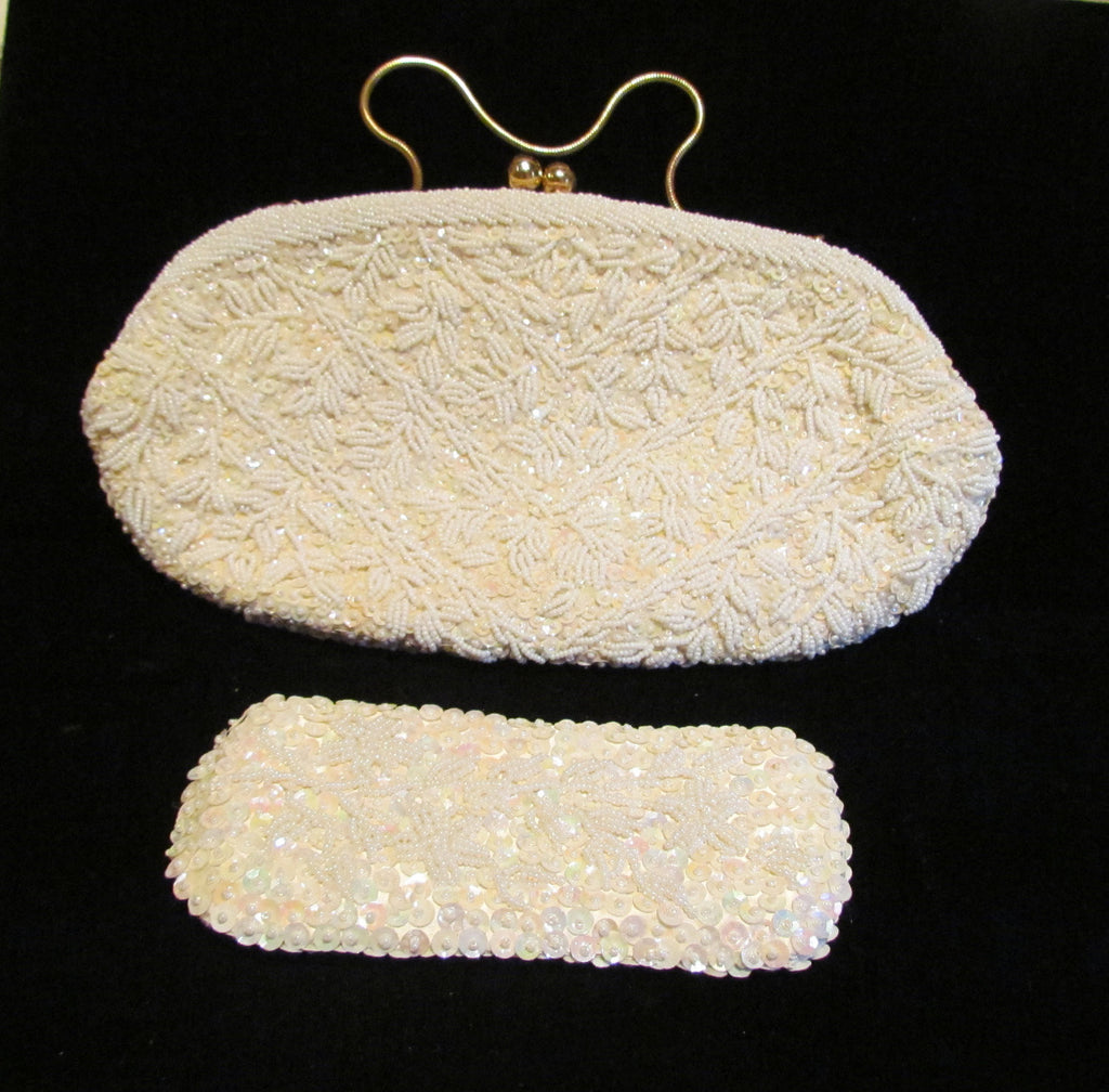 1940s White Beaded Purse Vintage Clutch Purse Sequins Rhinestone With Matching Eye Glass Case Mint Unused