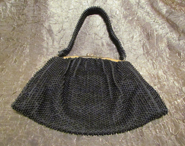 Vintage Black Beaded Purse 1930s Lumured Corde-Bead Handbag Art Deco