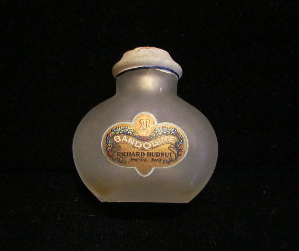 Richard Hudnut Perfume Bottle 1920's Bandoline Frosted Or Satin Glass Bottle Rare