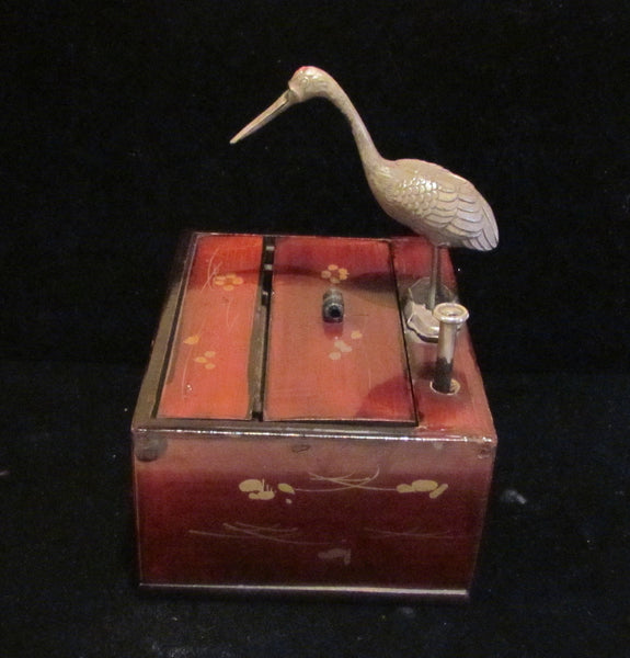 Antique Asian Cigarette Dispenser Box 1910's Japanese Bird Wooden Cigarette Case Extremely Rare
