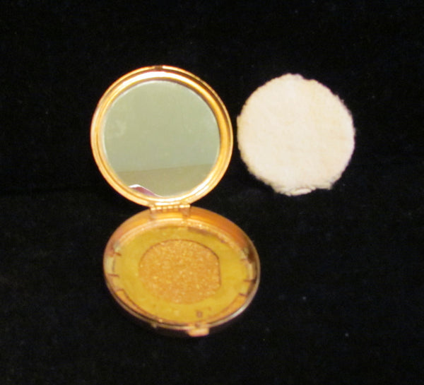 1917 Djer Kiss Powder Mirror Compact Gold & Green Enamel