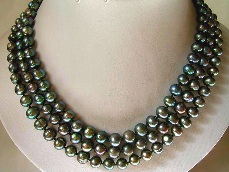 3 Strand Black Pearl Necklace 7.5mm Freshwater Black Pearls 925 Sterling Clasp Handmade OOAK