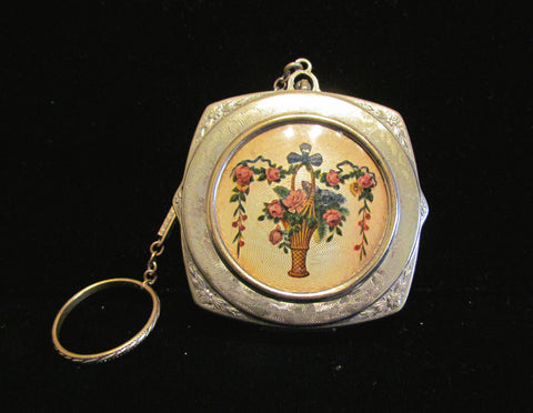 1900's Guilloche Dance Purse Victorian Powder Rouge & Mirror Compact