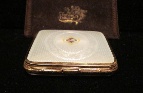 1930s Bliss Brothers Guilloche Powder Compact 24kt Gold Plated In Excellent Condition