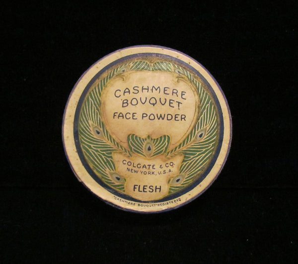 1930's Cashmere Bouquet Powder Box Colgate Peacock Litho Graphics