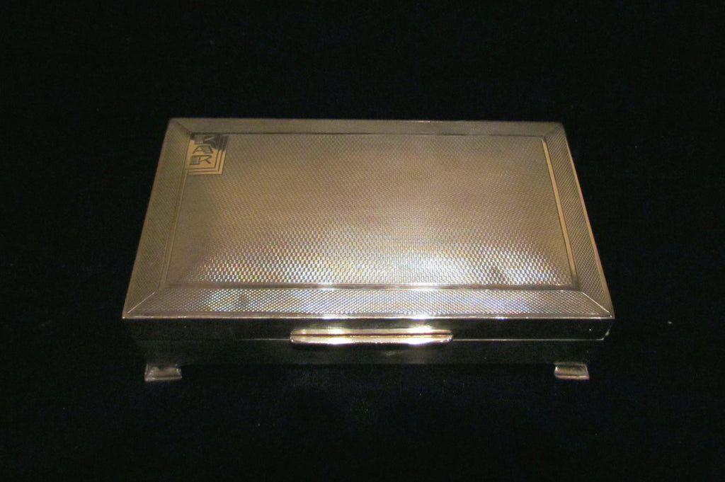 1945 Sterling Silver Cigarette Box Art Deco Tabletop Cigarette Case England Turner & Simpson Company