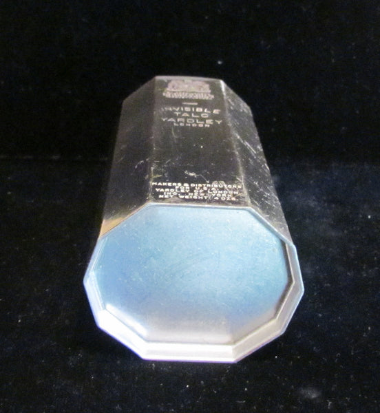 Art Deco Yardley Powder Tin Invisible Talcum Powder Vintage Silver Powder Container Full & Unused