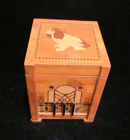 1940s Dog Cigarette Dispenser Wooden Box Occupied Japan