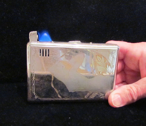 Vintage Silver Cigarette Case Lighter Art Nouveau Mermaid Magic Isoger Working Rare