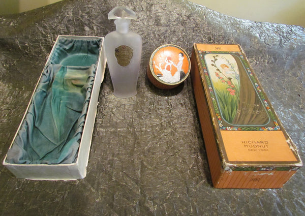 Rare Richard Hudnut Perfume & Powder Box Gift Set 1920's Perfume Vintage Three Flowers