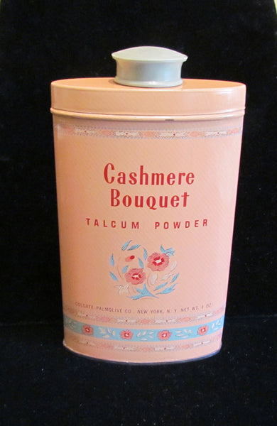 Cashmere Bouquet Talcum Powder Tin 1940s Art Deco Litho Graphics Vintage Full & Unused