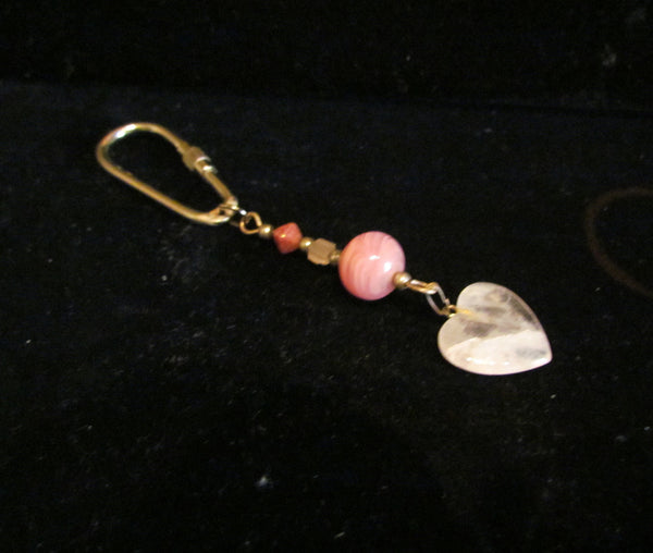 Handmade Quartz Heart Keychain OOAK Beaded Key chain