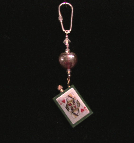Lighter Key Chain Vintage Queen Of Hearts Permanent Match Lighter OOAK Handmade Keychain