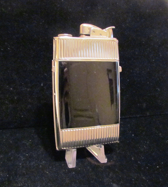 Vintage Evans Cigarette Case Lighter Art Deco Black Enamel & Silver Excellent Working Condition