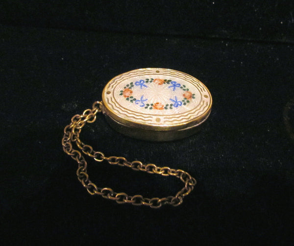 Antique Guilloche Compact Purse Wristlet Powder Compact Vintage Dance Purse Snuff Box RARE