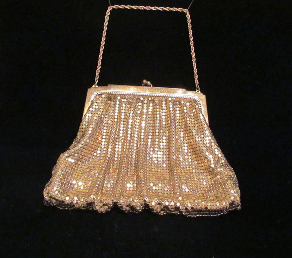 Vintage Whiting & Davis Gold Mesh Purse 1930's Art Deco Purse Wedding Bridal Formal Evening Bag