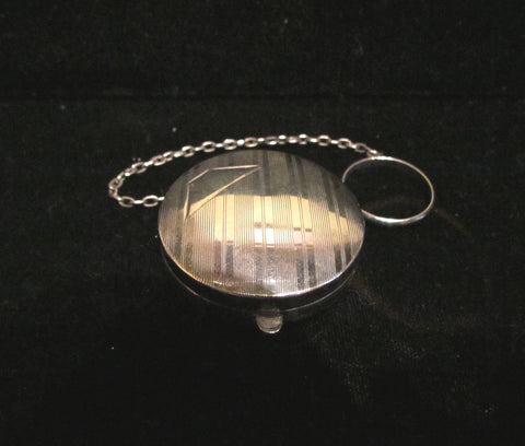 Antique Sterling Silver Powder Compact Finger Ring 1910 Snuff Box