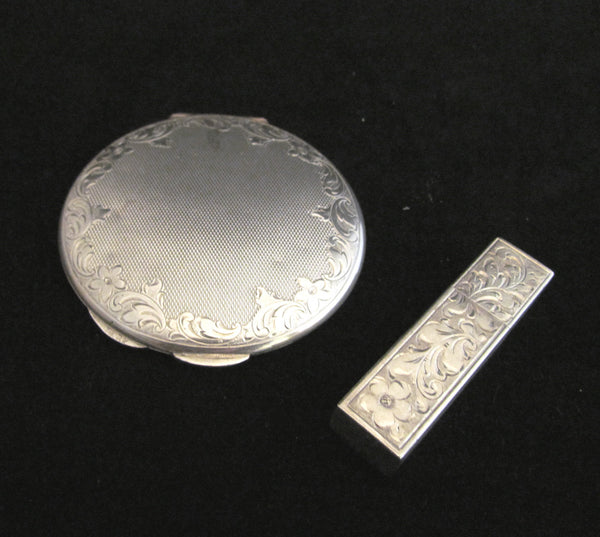 Sterling Silver Compact And Matching Lipstick Case Art Deco .925 DK Vintage