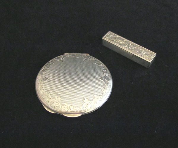 Sterling Silver Compact And Matching Lipstick Case Art