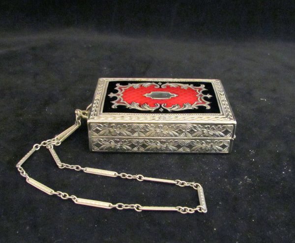 Vintage Red & Black Enamel Compact Purse 1920s Antique Mirror Powder Rouge & Lipstick Compact Dance Purse