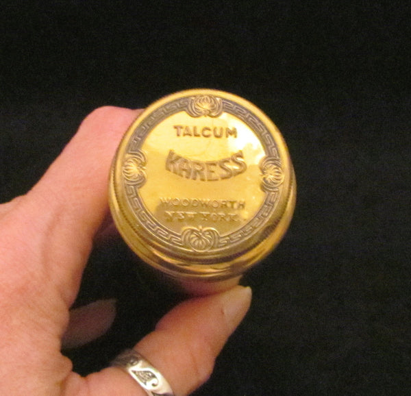 1920s Powder Tin Karess Woodworth Tin Talcum Tin Vintage Powder Tin Art Deco Tin SALE
