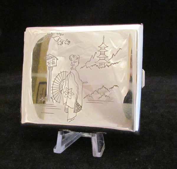 Asian Silver Cigarette Case Buiness Card Case Or Holder Vintage 1940s Etched Geisha Mt Fugi