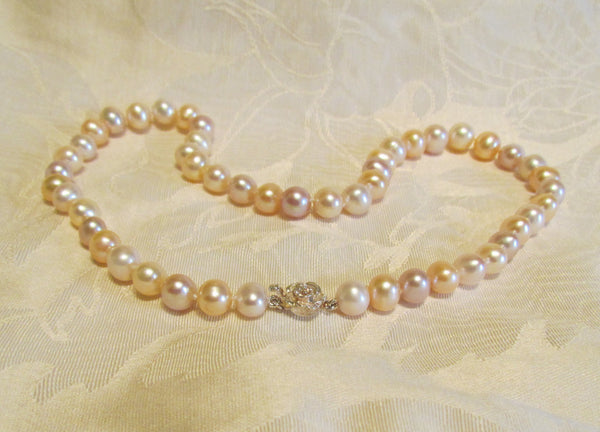 Freshwater Multi Color Pearl Necklace Sterling Silver Floral Clasp Wedding Necklace AA 9mm Bridal Necklace