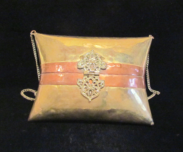 1930's Brass & Copper Pillow Purse Wedding Formal Shell Evening Bag