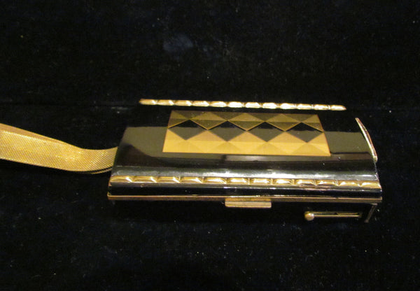 Black & Gold Enamel Compact Purse Art Deco Cigarette Case 1930's Mesh Wristlet Purse