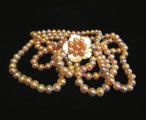 Multi Color Pearl 3 Strand Necklace Mother Of Pearl Sterling Silver & Pearl Clasp OOAK