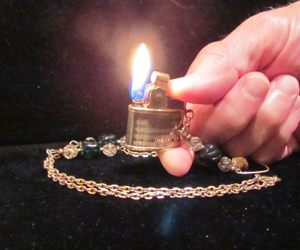 Handmade Lighter Necklace Beaded Vintage Lighter Necklace OOAK Pendant