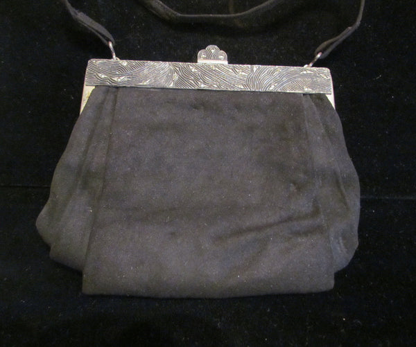 1920s JEMCO Purse Antique Black Suede Art Deco Purse Formal Evening Bag