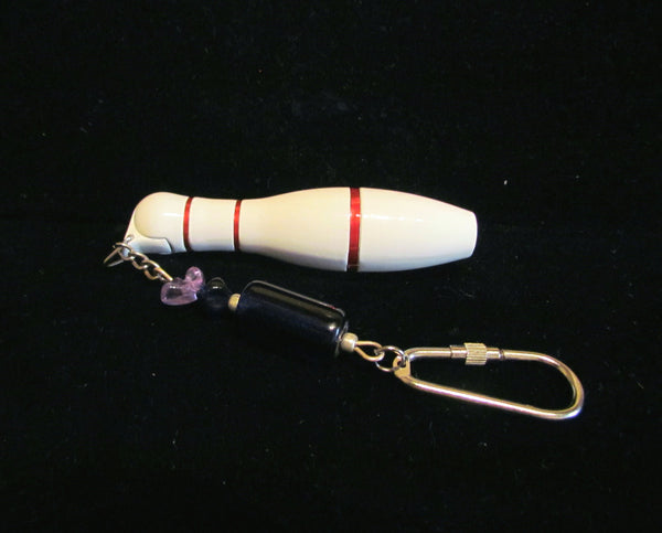 Bowling Pin Lighter Keychain Handmade OOAK Working