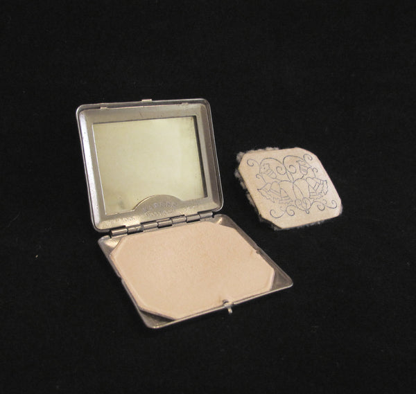 1920s Karess Woodworth Compact Wedding Silver Plated Mirror Powder Compact Antique
