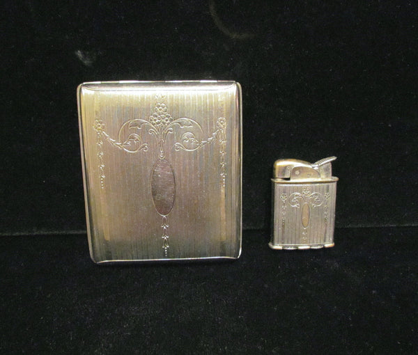 Evans Silver Cigarette Case & Lighter Set 1930's Working Spitfire Lighter