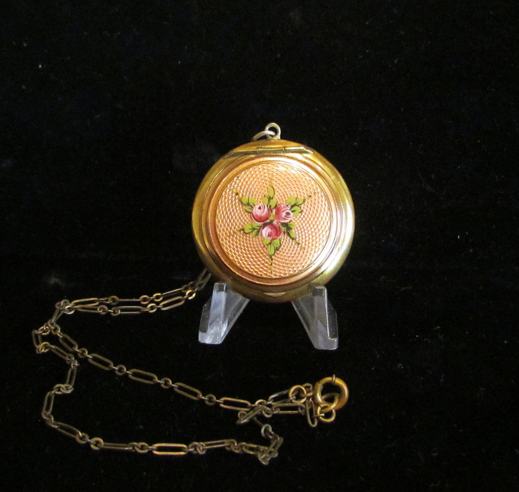 Antique German Guilloche Compact Necklace Powder Compact Locket Chatelaine 1910's