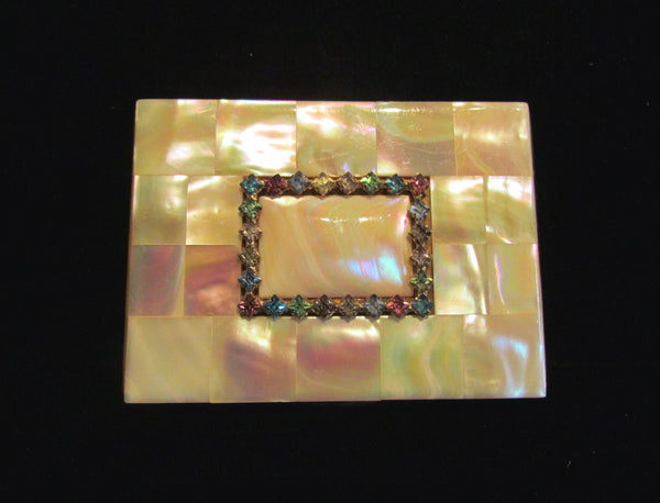 Vintage Mother Of Pearl & Rhinestone Elgin American Cigarette Case 1950's Business Credit Card Case Stunning