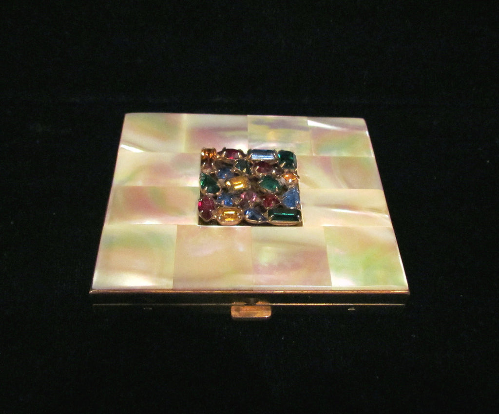 Vintage Mother Of Pearl & Rhinestone Compact 1950s Mad Men Powder Compact