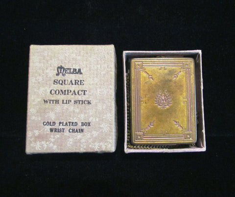 1919 Melba Compact Purse 14Kt Gold Plated Art Nouveau Wristlet Compact Original Box