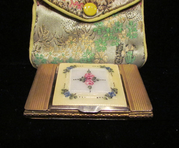 1930s La Mode Guilloche Enamel Powder Rouge And Lipstick Compact Excellent Condition