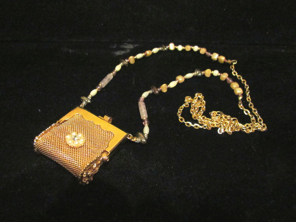 Vintage Pill Purse Pendant Necklace OOAK Handmade Beaded Chatelaine Mesh Coin Purse