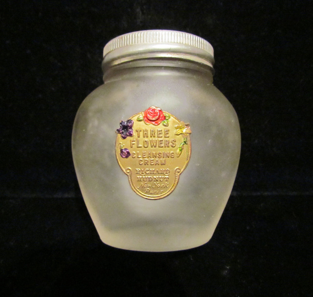 1920's Richard Hudnut Three Flowers Jar Vanishing Cream Frosted Satin Bottle Gold Foil Label Litho Lid