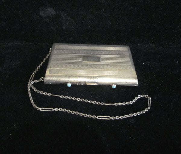 1910s Nickel Silver Compact Purse Turquoise Clasps Dance Purse Excellent Condition